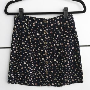 Corduroy Button Up/Down Floral Mini Skirt